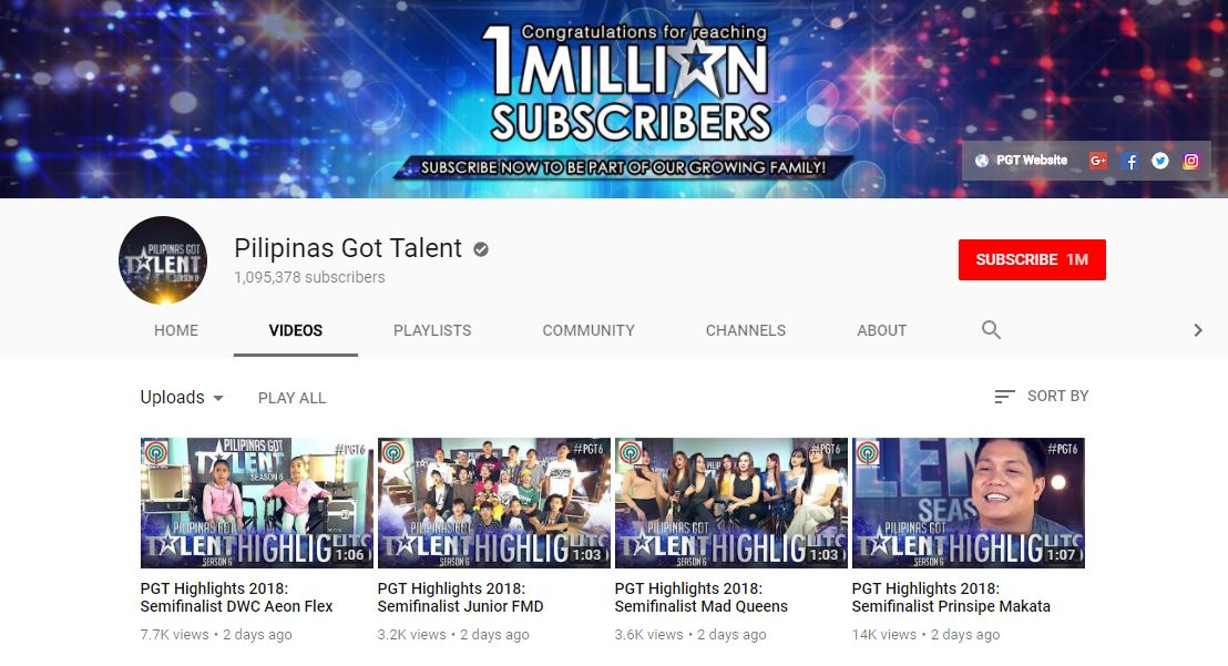 """""""Pilipinas Got Talent"""" hits 1M subscribers' gets Gold Creator Award from YouTube"""