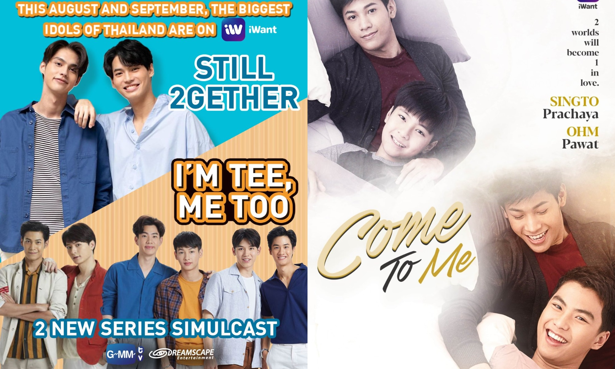 """Filipino-dubbed Thai series """"Still 2gether,"""" """"Come To Me,"""" and """"I'm Tee Me Too,"""" landing soon on iWant"""