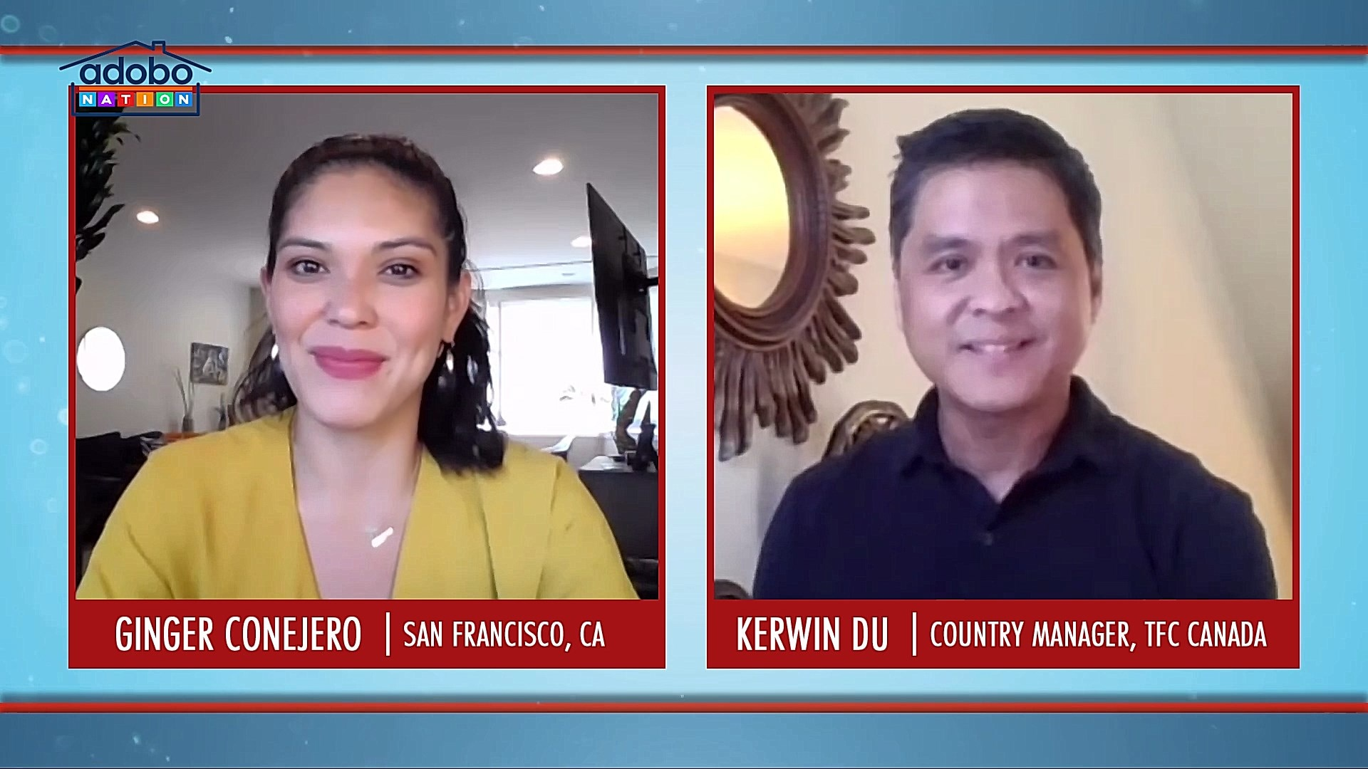 Adobo Nation host Ginger Conejero (left) interviews ABS CBN Country Manager for Canada Kerwin Du (right) about Canada Multiculturalism Day