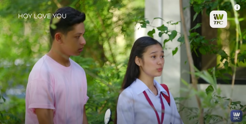 Aljon Mendoza and Karina Bautista in a scene for _Hoy, Love You!_ (2)