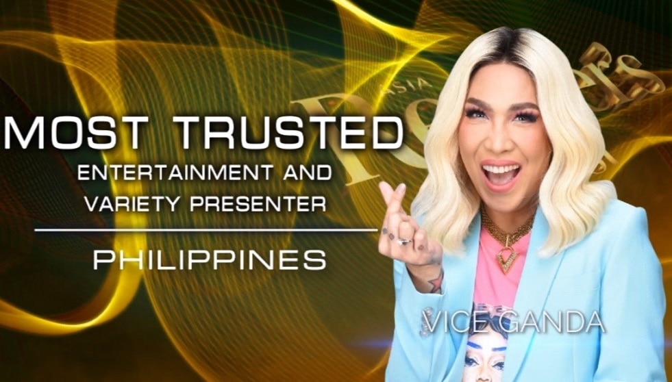 For the third straight year, Vice Ganda won Most Trusted Entertainment or Variety Presenter at the Reader's Digest Trusted Brands Awards