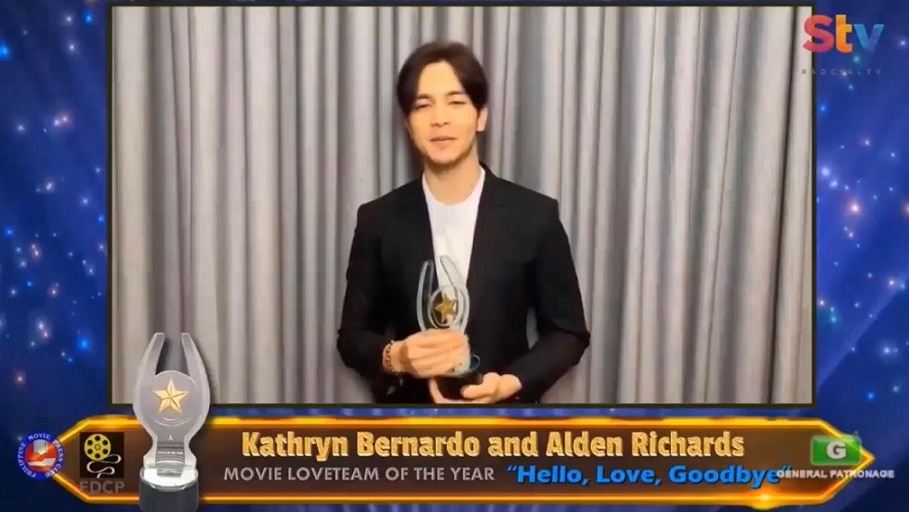 Alden Richards won Movie Actor of the Year and Movie Loveteam of the Year with Kathryn Bernardo