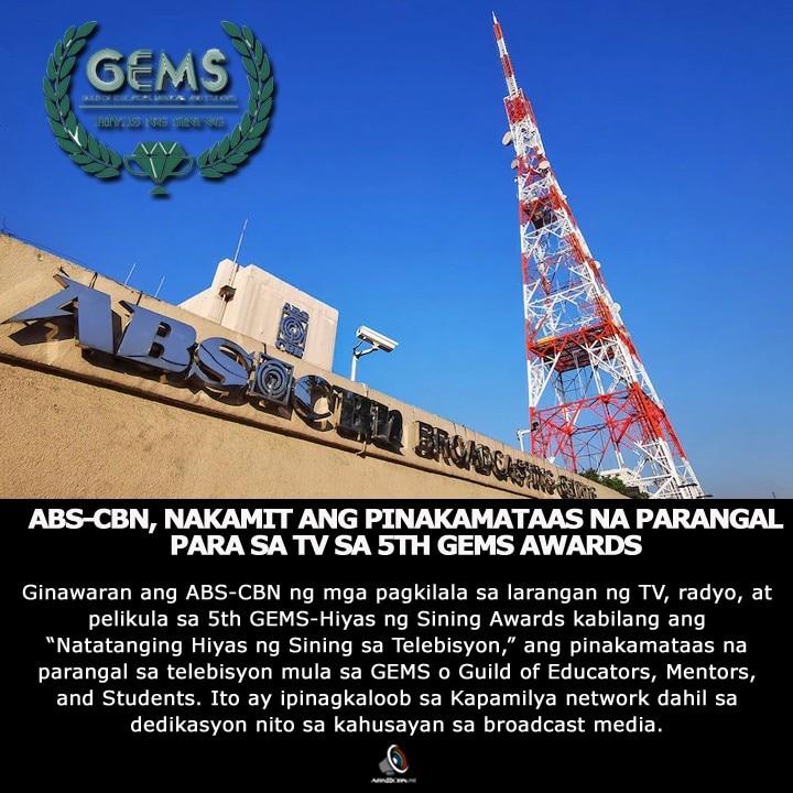 ARTCARD   FILIPINO   ABS CBN, NAKAMIT ANGPINAKAMATAAS NA PARANGAL PARA SA TV SA 5TH GEMS AWARDS