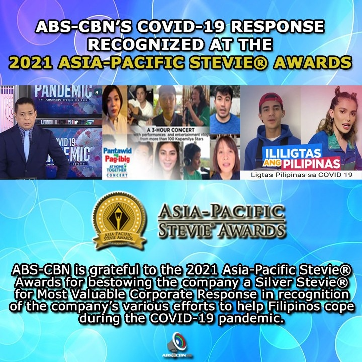 Artcard English ABS CBN'S COVID 19 RESPONSE RECOGNIZED AT THE 2021 ASIA PACIFIC STEVIE® AWARDS