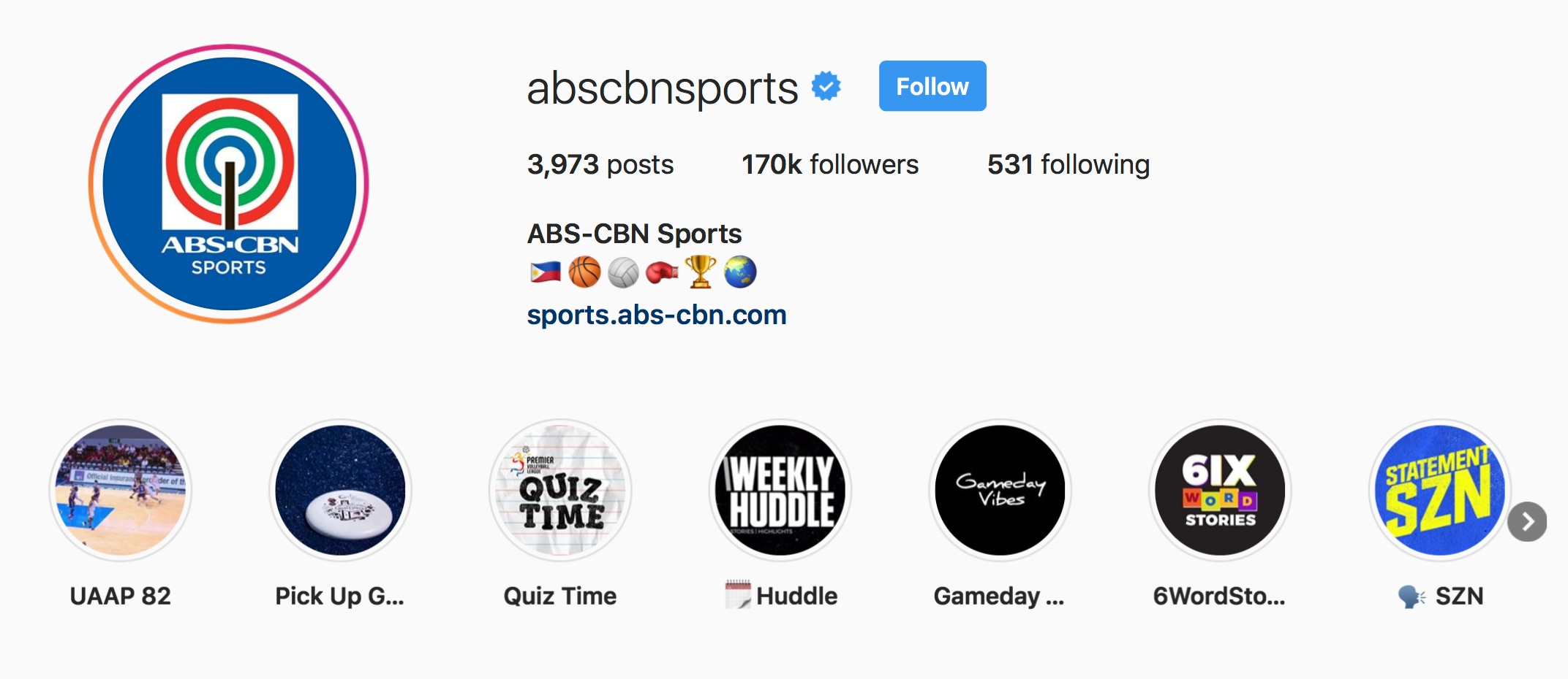 The ABS CBN Sports Instagram is gaining followers in a faster rate with its well curated content