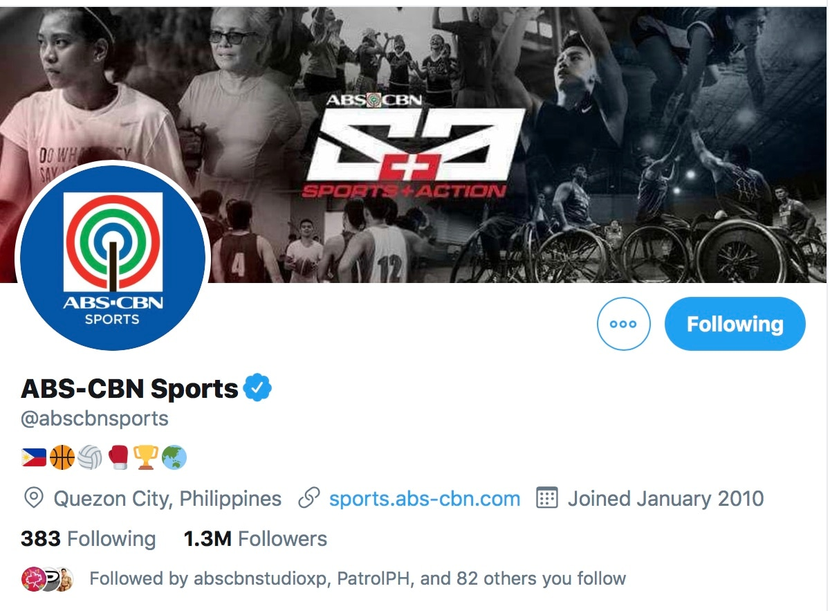 The ABS CBN Sports Twitter currenty has 1 3 million followers