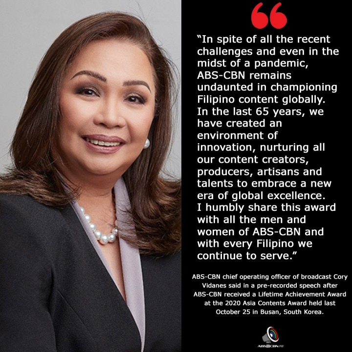 Artcard Cory Vidanes receives Lifetime Achievement Award for ABS CBN from Asia Contents Awards