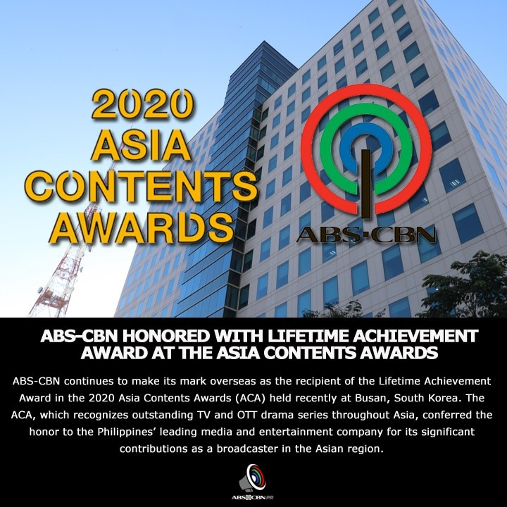 Artcard English ABS CBN honored with Lifetime Achievement Award at the Asia Contents Awards