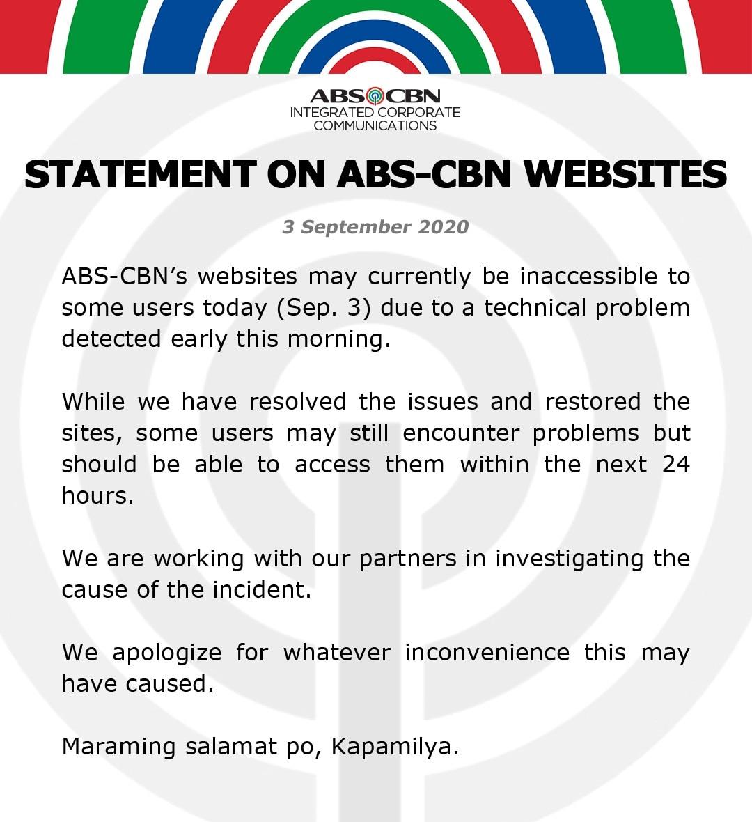 Artcard Statement on ABS CBN websites