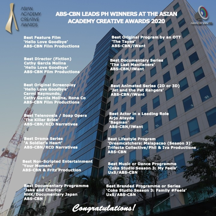 FULL LIST OF NATIONAL WINNERS AT THE ASIAN ACADEMY CREATIVE AWARDS FROM ABS CBN