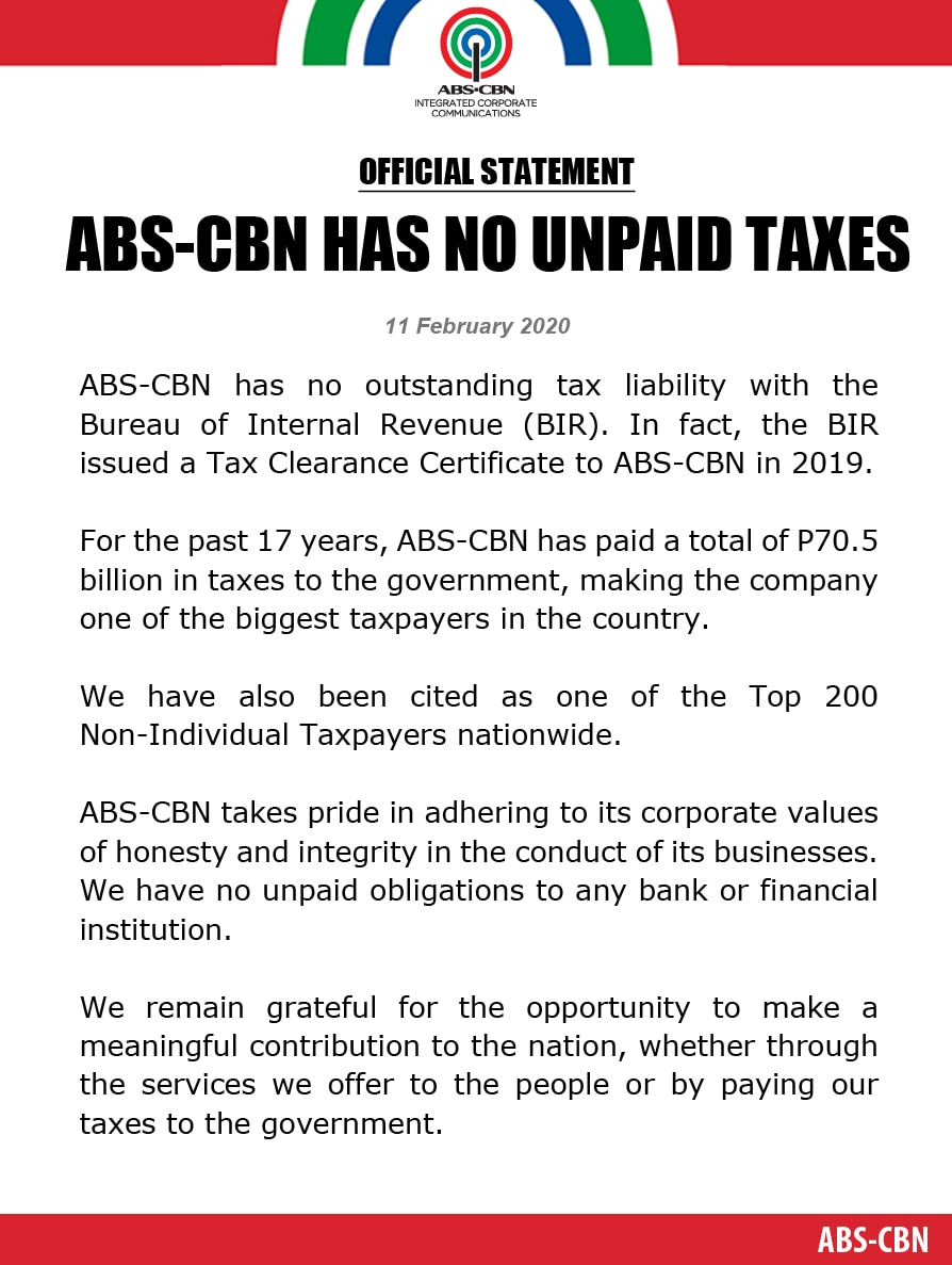 FINAL Artcard  (English) STATEMENT OF ABS CBN   ABS CBN HAS NO UNPAID TAXES (Facebook and Twitter)