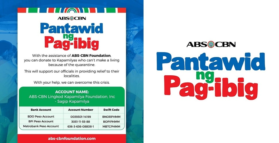 "ABS-CBN launches ""Pantawid ng Pag-ibig"" campaign to provide food for Filipinos affected by community quarantine"