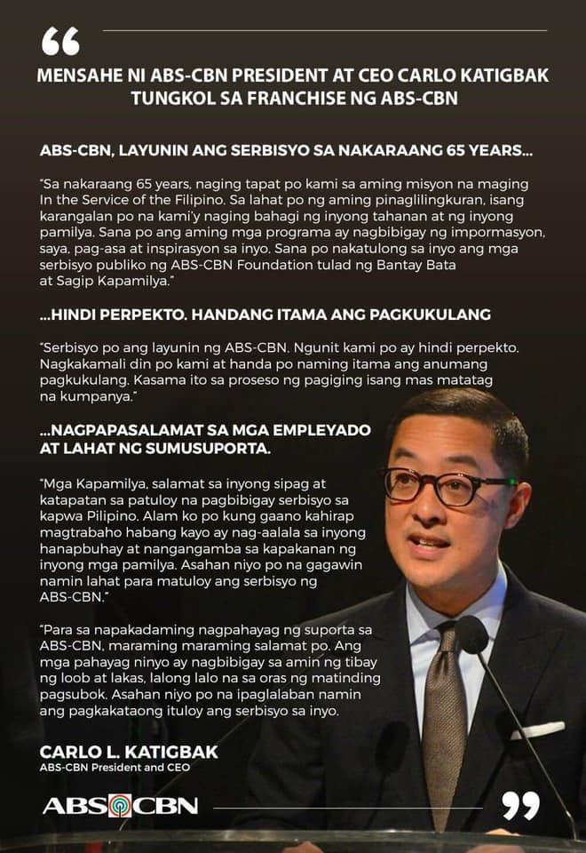 MENSAHE NI ABS CBN PRESIDENT AT CEO CARLO L  KATIGBAK TUNGKOL SA FRANCHISE NG ABS CBN