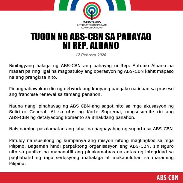 Artcard ABS CBN STATEMENT ON REP  ALBANO (2) FILIPINO