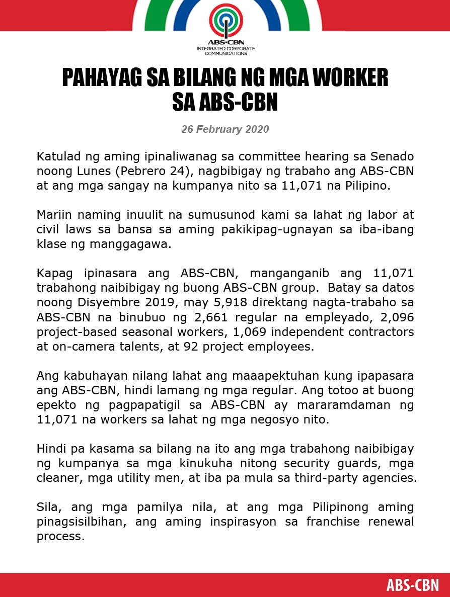 Artcard  (Filipino) Pahayag sa bilang ng mga worker sa ABS CBN