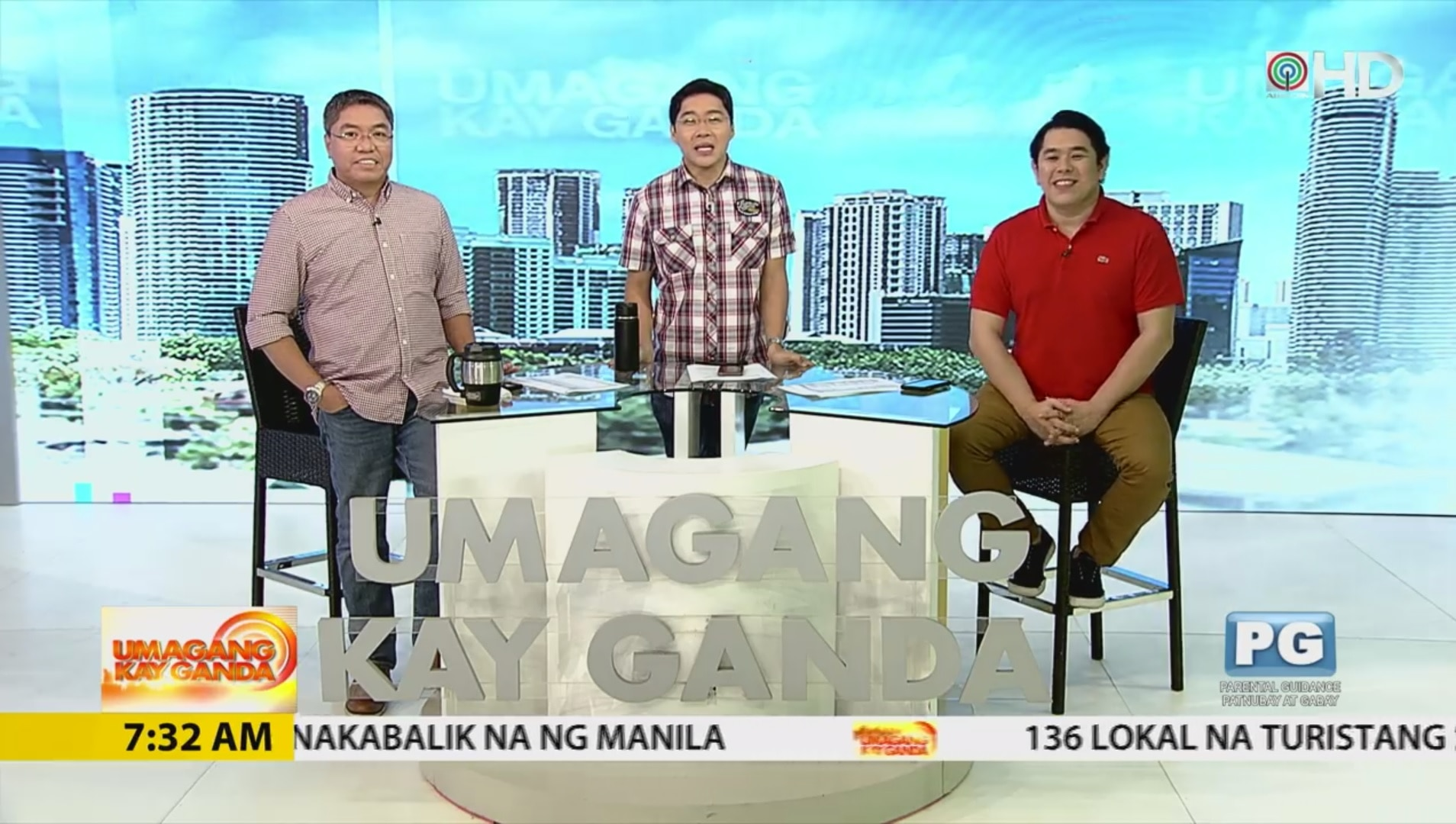 L R Jorge Carino, Anthony Taberna, and Jeff Canoy at the UKG Studio