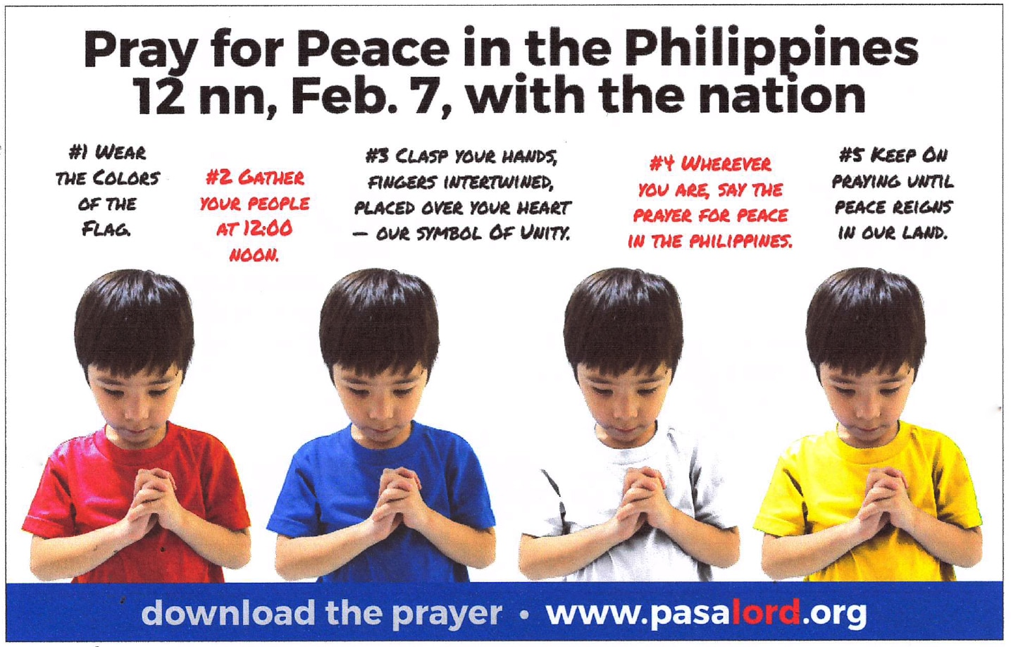On February 7, the entire nation will pray for peace in the Philippines