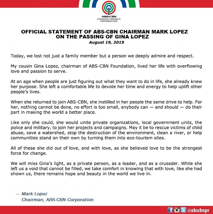 Official Statement of ABS-CBN chairman Mark Lopez on the passing of Gina Lopez