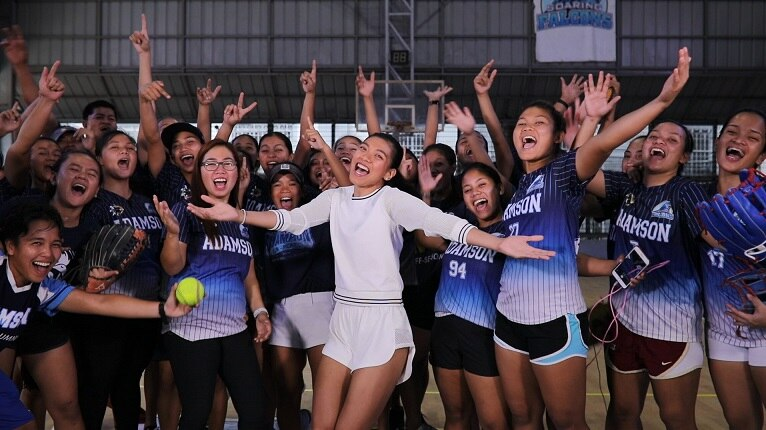 Alyssa Valdez trains with the UAAP softball queens the Adamson women's softball team__