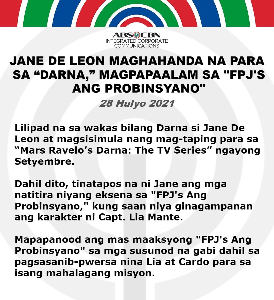 Artcard FILIPINO STATEMENT JANE DE LEON MAGHAHANDA NA PARA SA DARNA, MAGPAPAALAM SA FPJAP