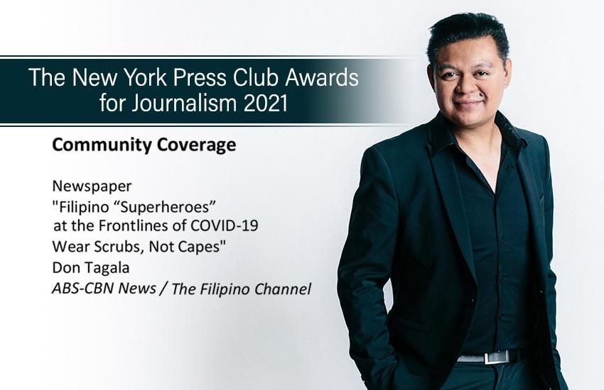 ABS-CBN News Senior Correspondent Don Tagala Wins at the 2021 New York Press Club Journalism Awards