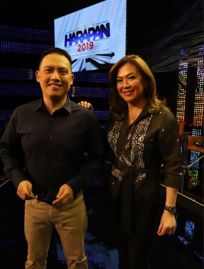 Alvin Elchico and Karen Davila anchor Harapan 2019 The ABS CBN Senatorial Town Hall Debate