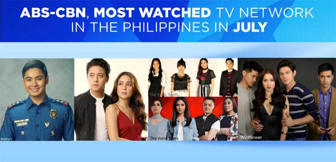 ABS-CBN, Most Watched TV Network in the Philippines in July