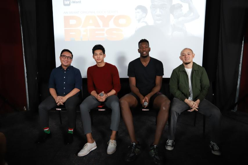 ABS CBN Sports digital head Mico Halili and Dayories director Enzo Marcos flank Ricci Rivero and Ange kouame