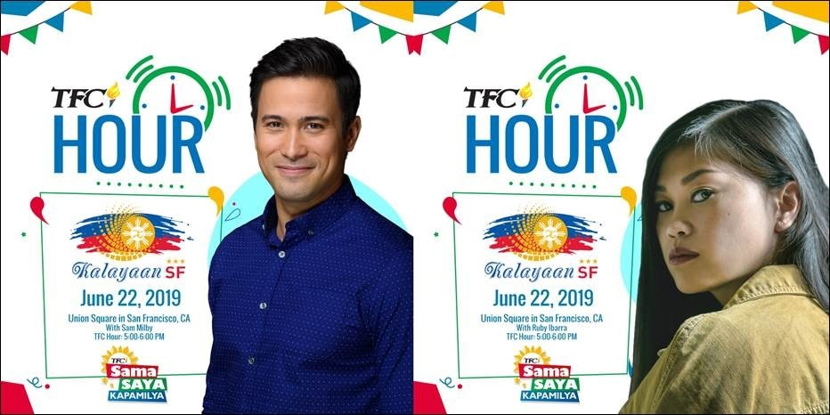 FilAms Sam Milby, Ruby Ibarra & the Balikbayans headline TFC Hour at Kalayaan SF on June 22, this Saturday, in Union Square