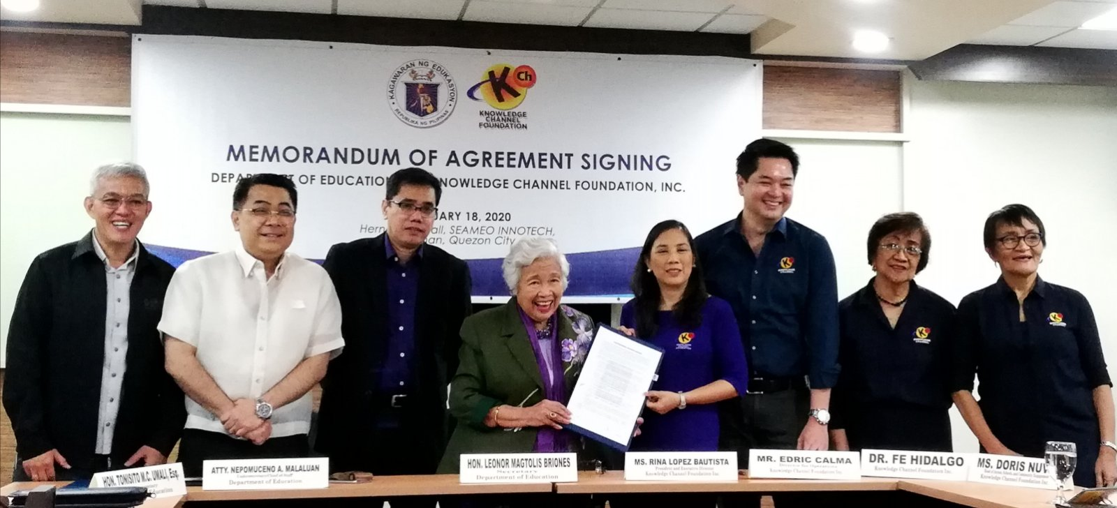 KNOWLEDGE CHANNEL FOUNDATION AND DEPED RENEW PARTNERSHIP