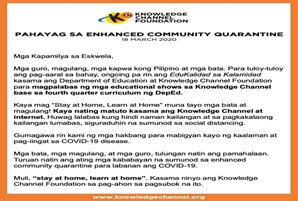 Pahayag ng Knowledge Channel sa Enhanced Community Quarantine