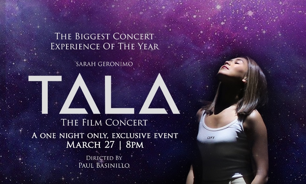 """Sarah G's """"TALA: The Film Concert"""" to premiere exclusively on KTX.PH, iWantTFC, and TFC IPTV on March 27"""