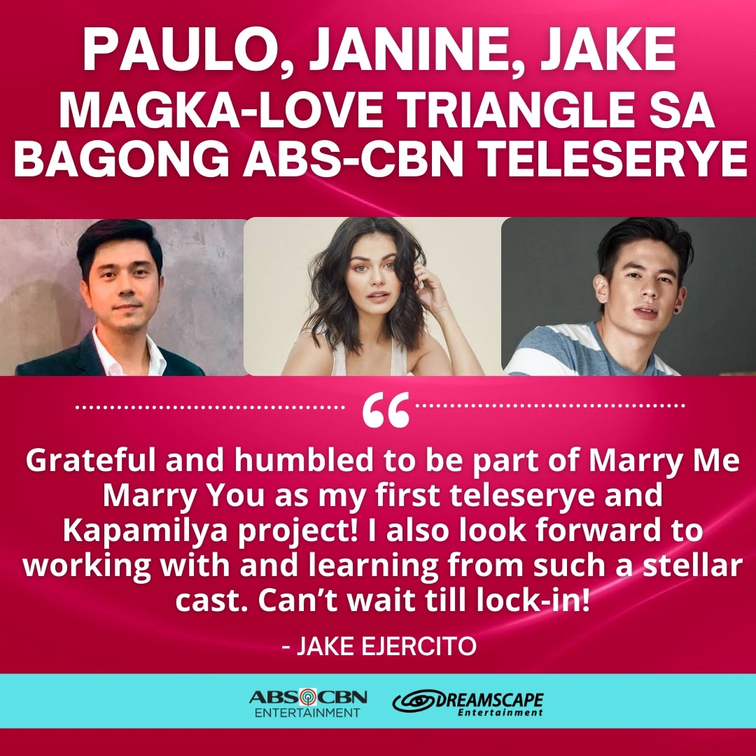 Paulo Avelino, Janine Gutierrez, and Jake Ejercito are entangled in a love triangle in a new ABS CBN teleserye