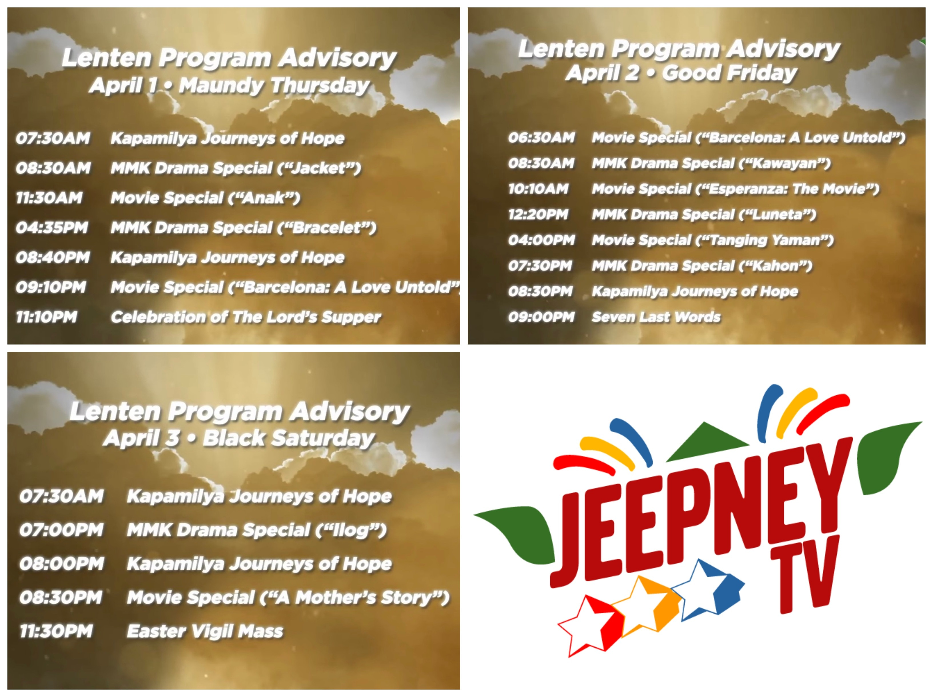"""Uplifting family movies, """"MMK"""" classics air on Jeepney TV this Holy Week"""