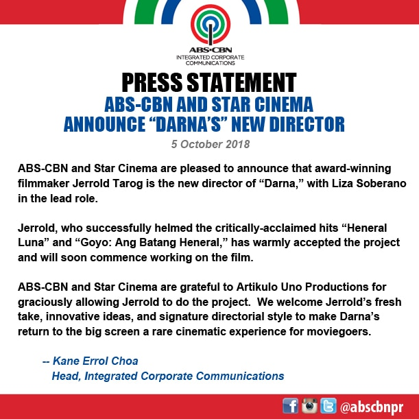 PRESS STATEMENT _ ABS CBN AND STAR CINEMA ANNOUNCE NEW DARNA DIRECTOR
