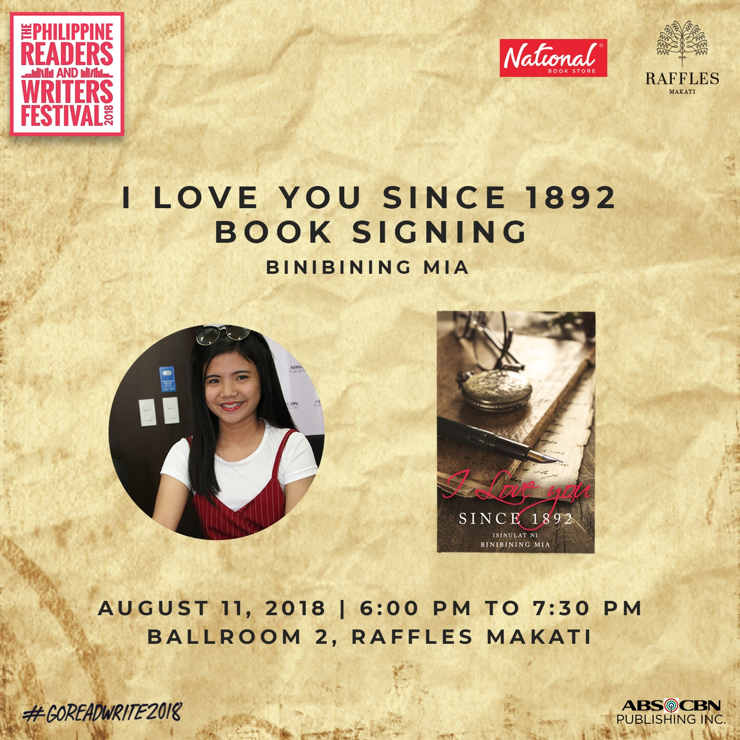 Binibining Mia, author of I Love You Since 1982 fiction, will be at PRWF on Saturday at 6 PM