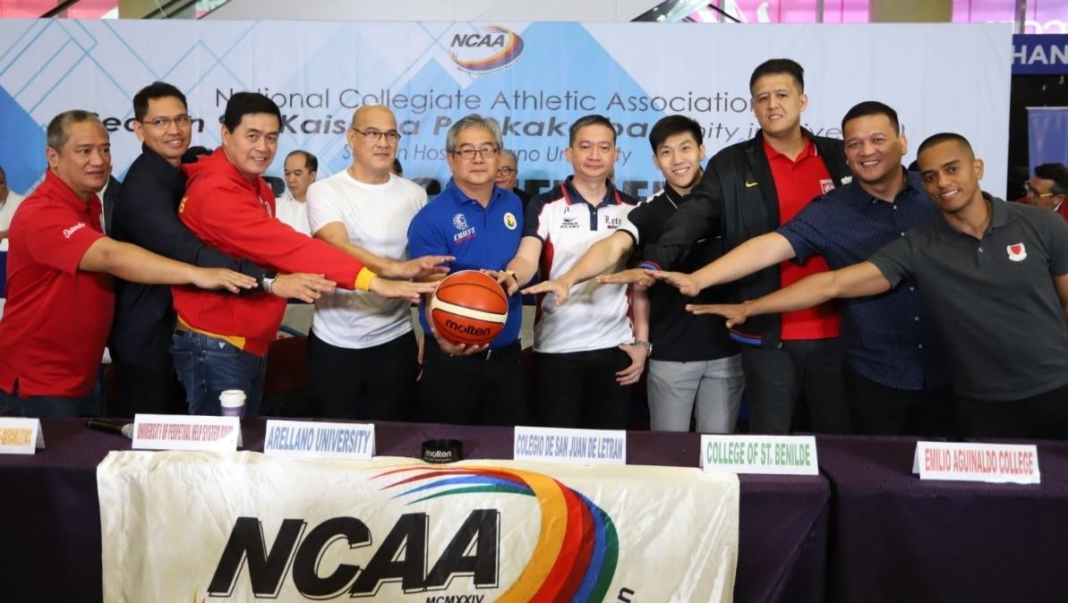 (L R) Coaches Boyet Fernandez (SBU), Randy Alcantara (Mapua), Egay Macaraya (SSC R), Frankie Lim (UPHSD), Cholo Martin (AU), Bonnie Tan (CSJL), TY Tang (CSB)