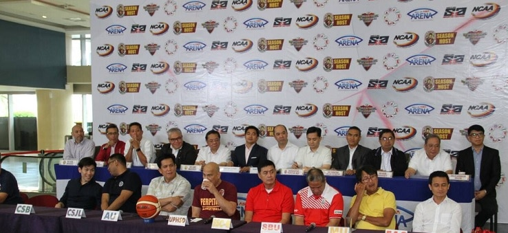 ABS CBN Sports head Dino Laurena with the NCAA Mancom and coaches