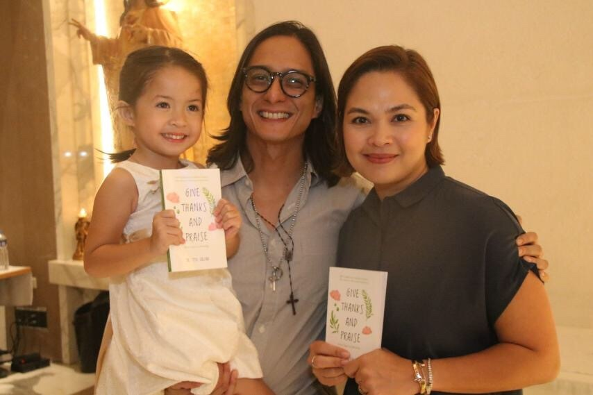 The Agoncillo family Ryan, Judy Ann, and Luna at the launch of Give Thanks and Praise book 2