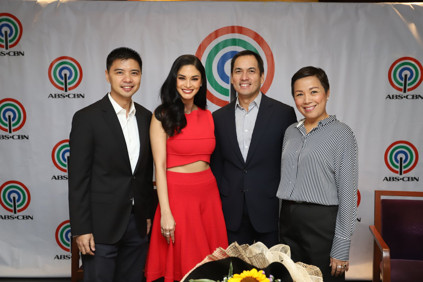ABS CBN head of print publishing and production services Mark Yambot, Pia Wurtzbach, Creative Programs Inc  head Paolo Pineda and Pia's manager Rikka Infantado