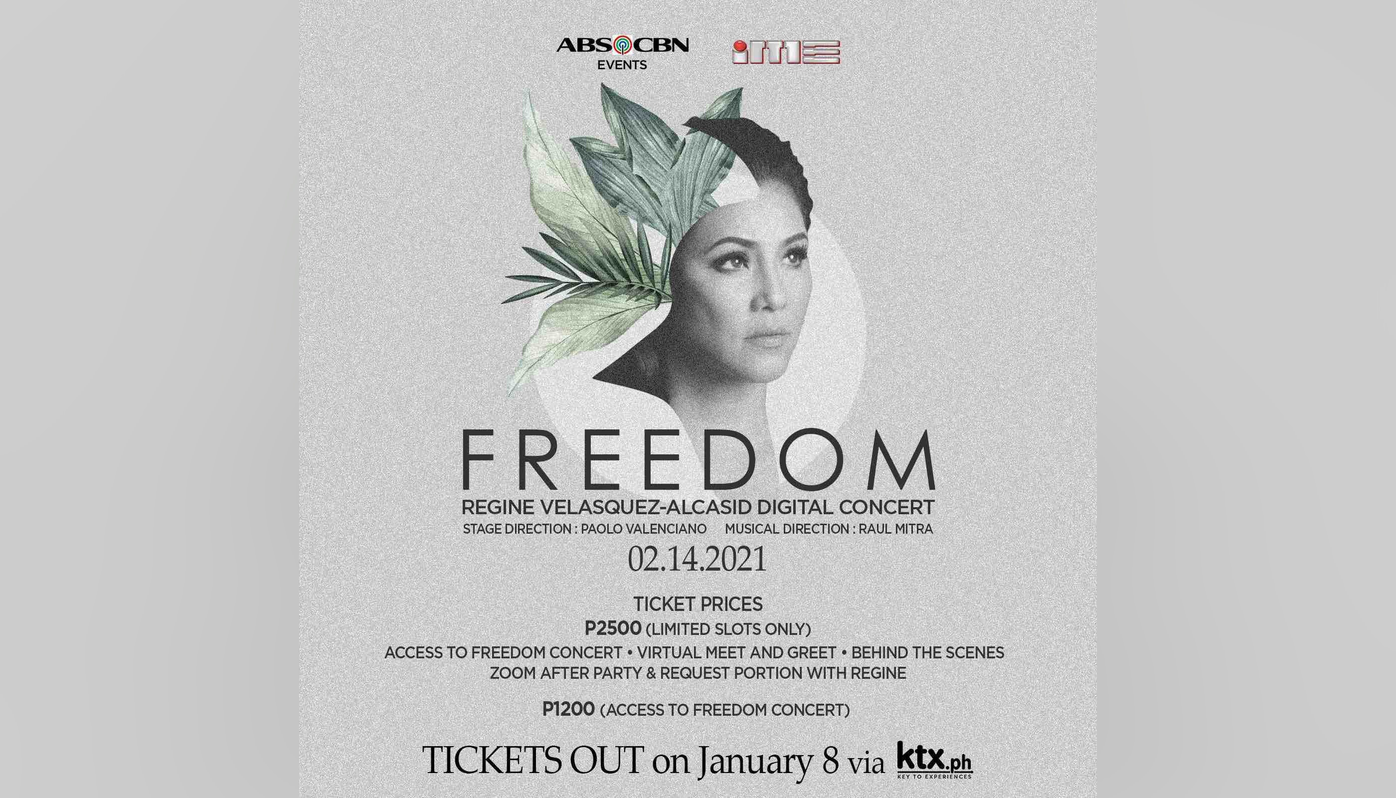 """Tickets for Regine's """"Freedom"""" digital concert now up for grabs"""