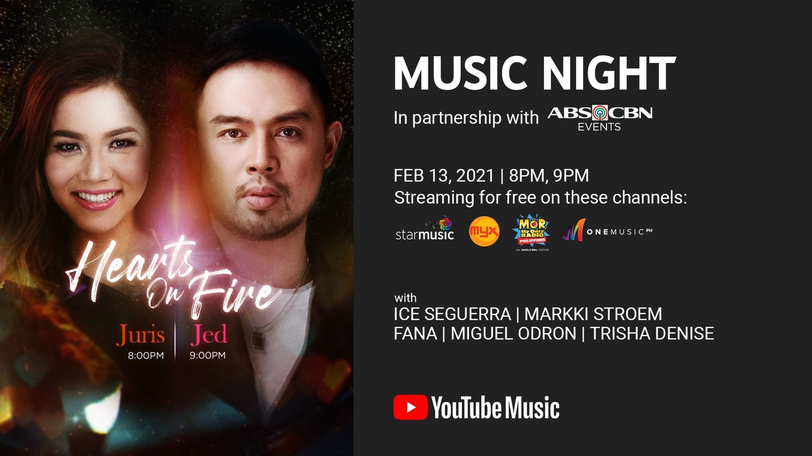 YouTube Music Night Hearts On Fire Juris and Jed