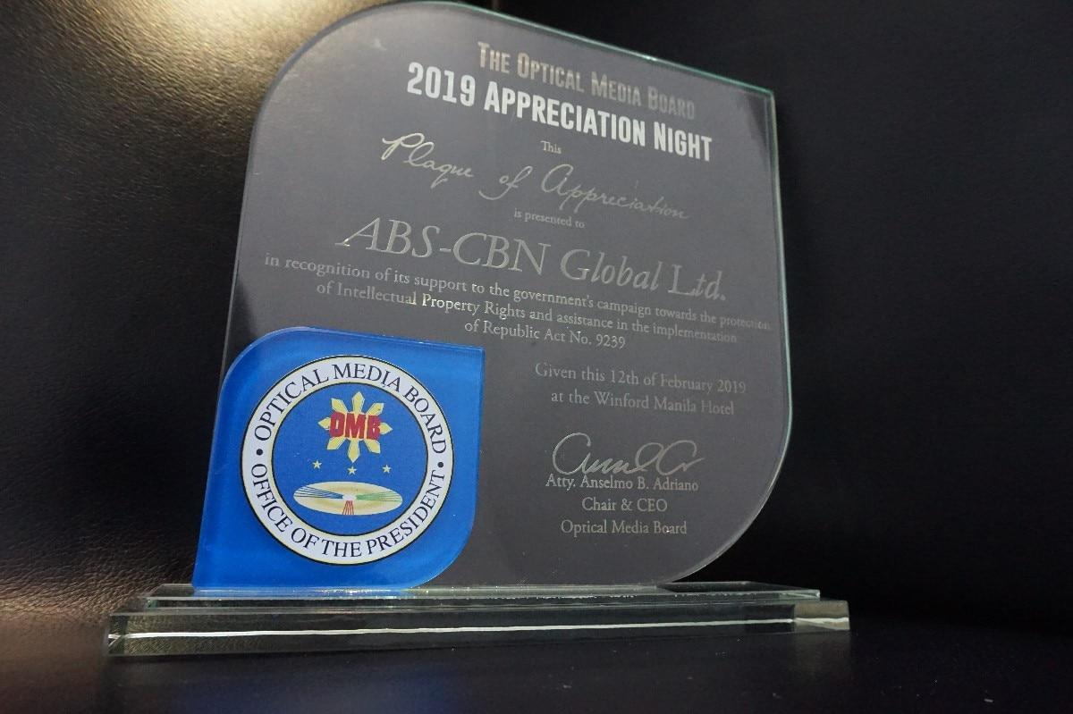 ABS CBN Global among the business 'gems' recognized by the Optical Media Board