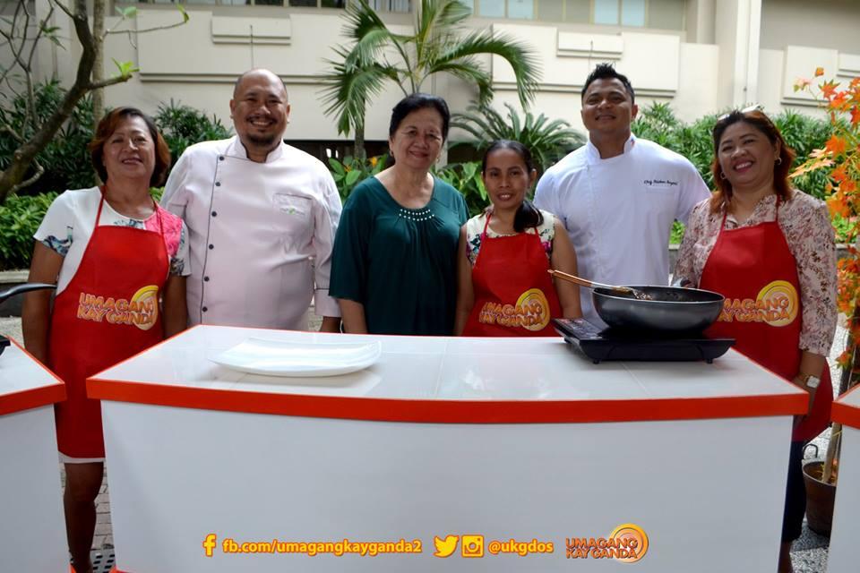 Chef Tatung Sarthou Bagoong Club executive chef Tristan Bayani at Kapampangan cooking expert Lillian Borromeo mentor contestants