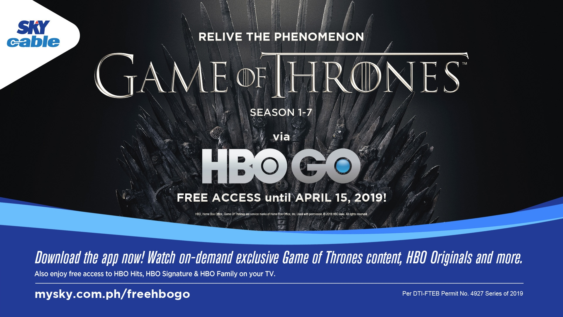 "Free catch-up viewing of ""Game of Thrones"" via HBO GO on SKY"