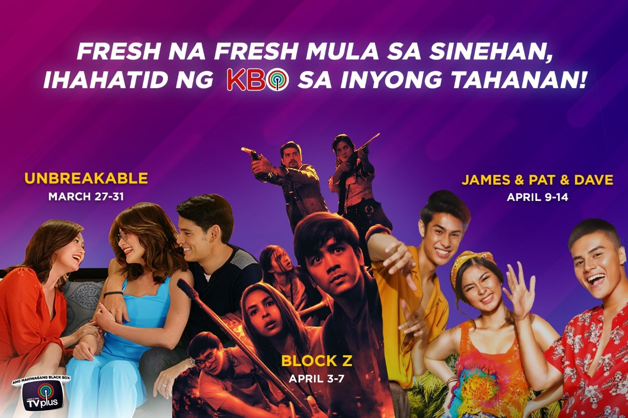 "ABS-CBN TVplus' KBO offers fresh movies ""Hello Love Goodbye,"" ""Unbreakable,"" ""Block Z,"" ""James, and Pat and Dave,"" and ""Isa Pa with Feelings"""