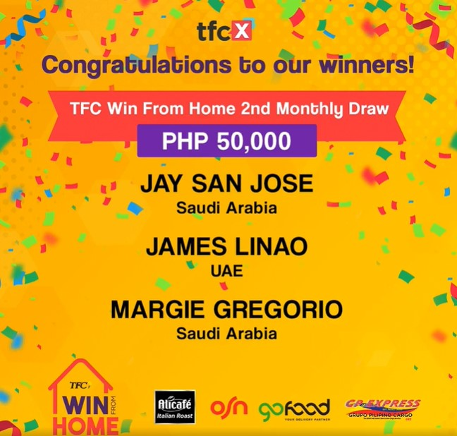 """""""TFC Win From Home"""" continues giving away big prizes on its second monthly draw"""