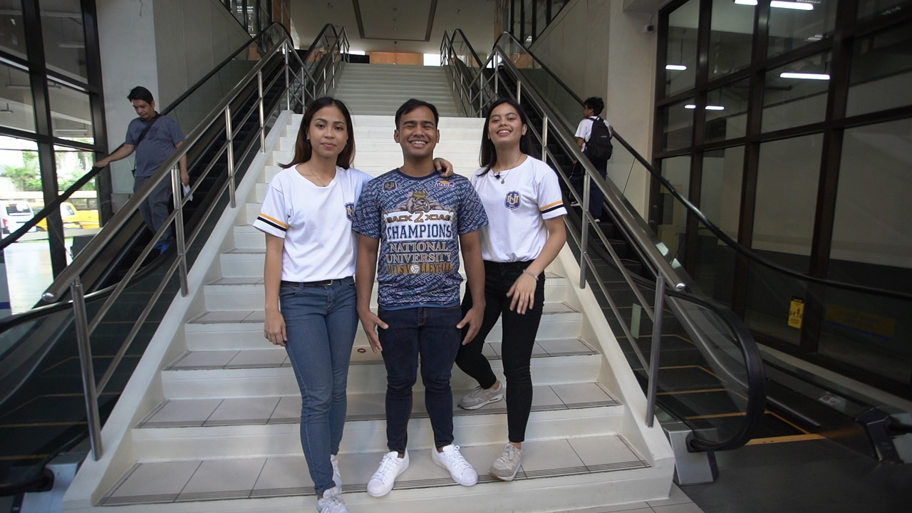 Volleyball stars Joyme Cagande, Jen Nierva, and Ricky Marcos tour viewers around the campus